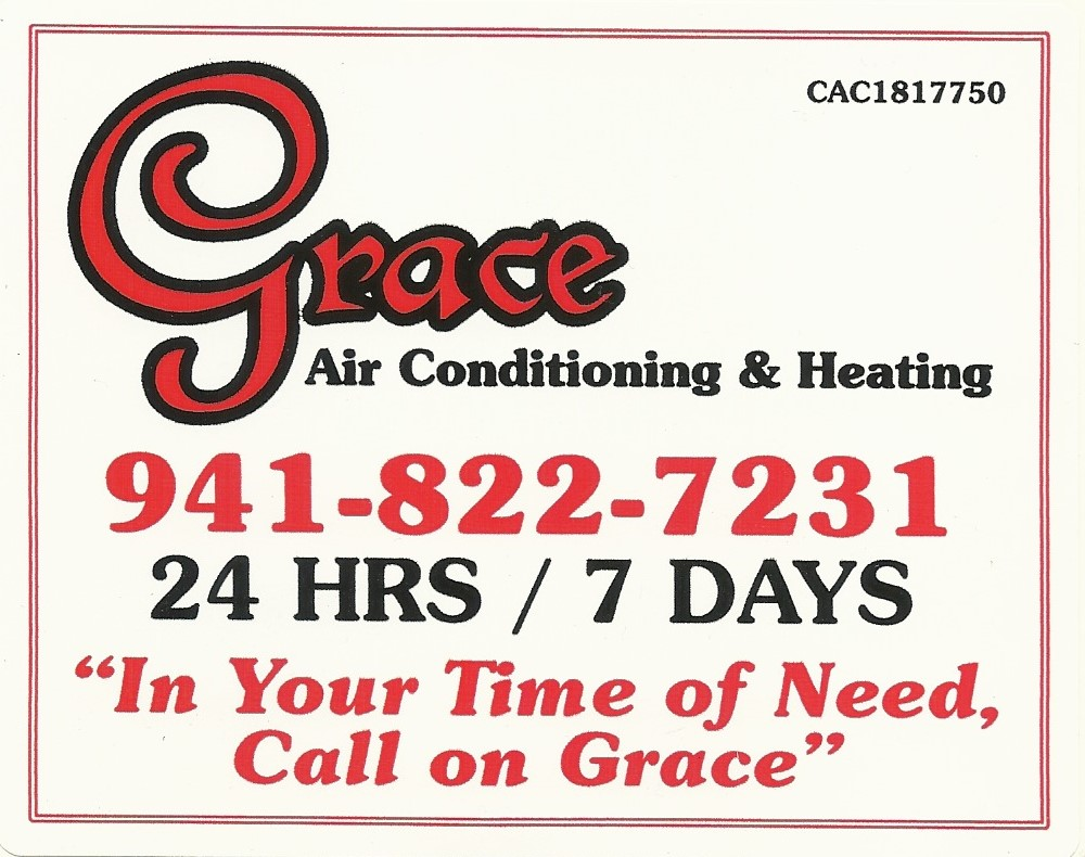 Grace Air Conditioning Logo with Phone Number and Slogan