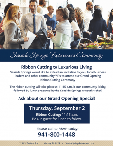 Seaside Springs Retirement Community Grand Opening and Ribbon Cutting flyer